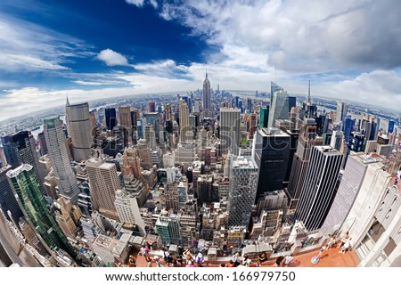View of Manhattan from a height. Photographed with the aid of a fish eye lens - stock photo