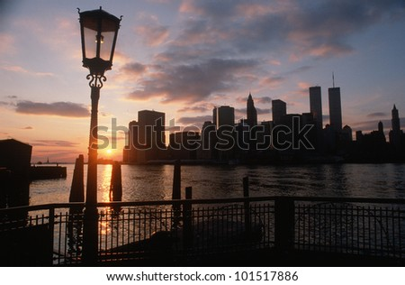 View of Manhattan from the Brooklyn Bridge at sunset, New York City, New York