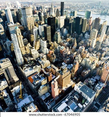 view of Manhattan from The Empire State Building, New York City, USA - stock photo