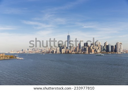View of Manhattan from the Statue of Liberty. - stock photo