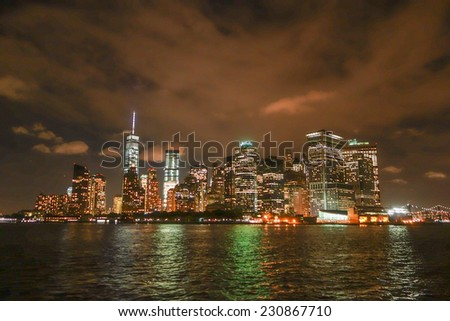 View of Manhattan in New York at night