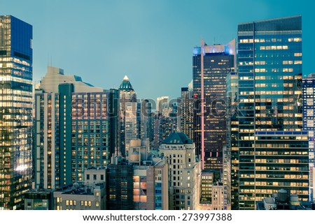 View of Manhattan skyline at dusk - stock photo