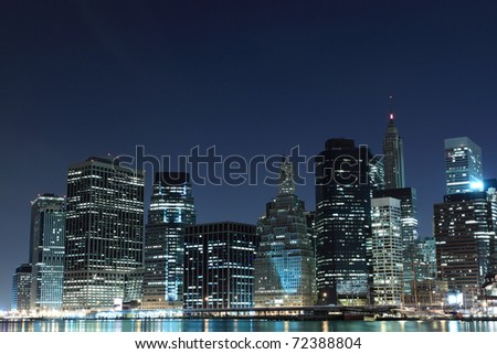 View of Manhattan Skyline from Brooklyn At Night, New York City
