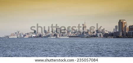View of Manhattan skyline in NYC.
