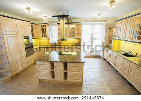 View of marble worktop inside the kitchen - stock photo