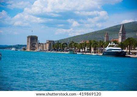 View of marina in Trogir, historic town in Croatia - stock photo