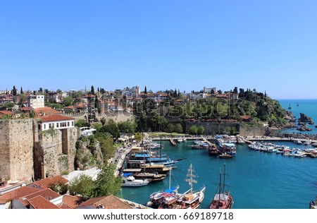 View of marina of the old town of Antalya, Turkey