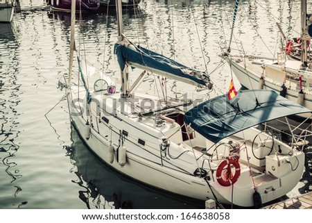 view of Marina Port Vell in Barcelona. Catalonia, Spain. Vintage retro style - stock photo