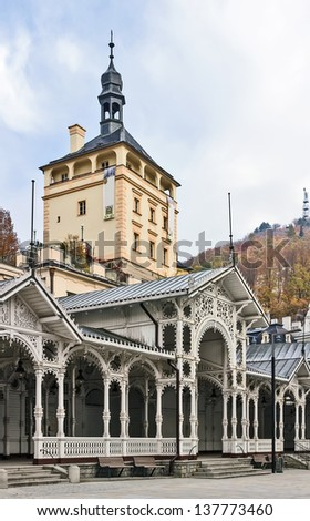 View of Market Colonnade and Castle Tower in the historical center of Karlovy Vary