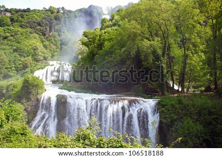 View of Marmore's Falls (Umbria, Italy), one of highest waterfall of Europe (165m) - stock photo