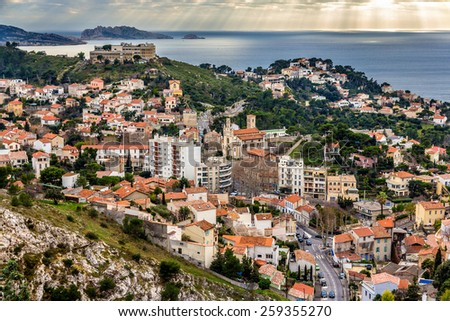 View of Marseille and the Mediterranean sea - France - stock photo