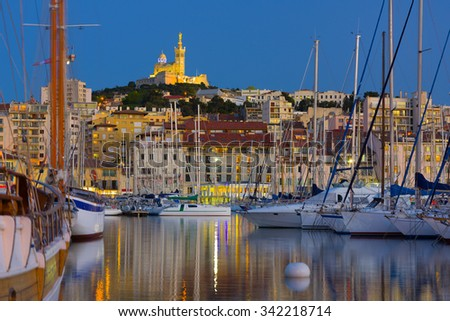 View of Marseille port at a night - stock photo
