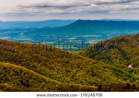 View of Massanutten Peak and the Shenandoah Valley from Skyline Drive in Shenandoah National Park, Virginia. - stock photo