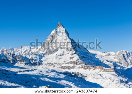 View of Matterhorn on a clear sunny day from gornergrat train station - stock photo