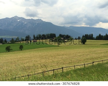 View of meadow and mountains - stock photo