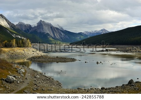 View of Medicine Lake in the Fall - Jasper National Park, Alberta, Canada - UNESCO World Heritage