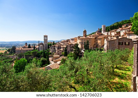 view of medieval assisi town in italy
