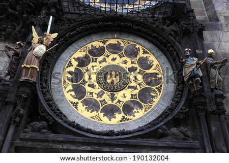View of medieval astronomical clock in Prague, Czech republic - stock photo