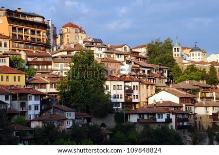 View of medieval city of Veliko Tarnovo in Bulgaria - stock photo