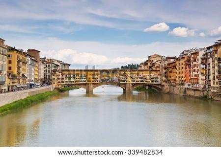 View of medieval stone bridge Ponte Vecchio, Florence, Italy - stock photo