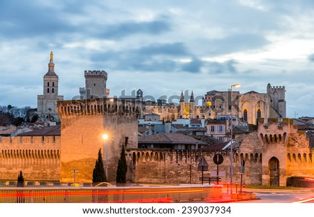 View of medieval town Avignon at morning, UNESCO world heritage - stock photo