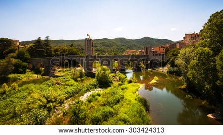 View of medieval town with bridge. Besalu, Spain