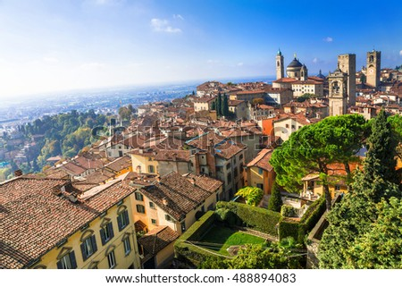 View of medieval Upper Bergamo - beautiful medieval town in north Italy