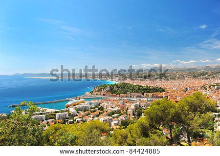 View of mediterranean resort, Nice, France. - stock photo