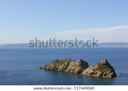 View of mediterranean sea from Port Cros national park island near Toulon, south of France. - stock photo
