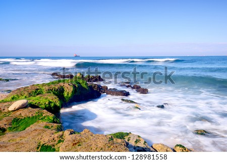 view of mediterranean sea in Israel - stock photo