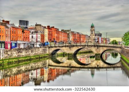 View of Mellows Bridge in Dublin - Ireland - stock photo
