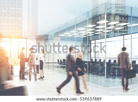 suits office. View Of Men And Women In Suits Walking A Glass Office. City Is Office