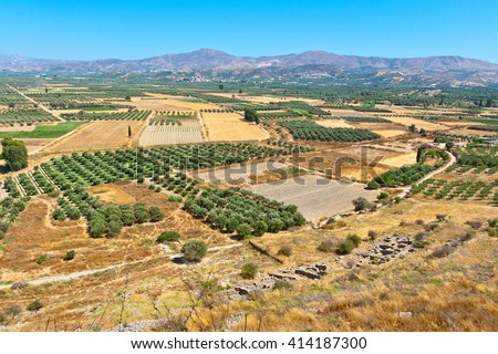 View of Messara plain from the hill of Phaistos. Crete, Greece - stock photo