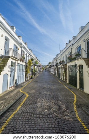 View of mews houses in Holland Park area of London UK  - stock photo