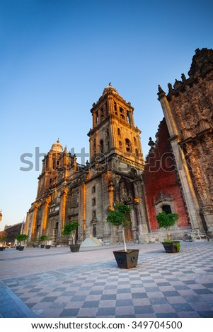 View of Mexico City Metropolitan Cathedral at morning early sunrise light - stock photo