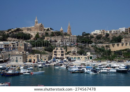 View of Mgarr, Gozo island, Malta, taken from the harbor