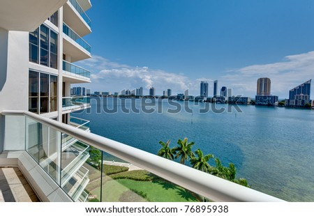 View of Miami Beach from an Oceanfront balcony - stock photo
