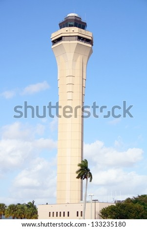 View of Miami's air traffic control tower at MIA - stock photo