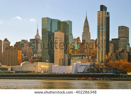 View of Midtown Manhattan from the Roosevelt Island.