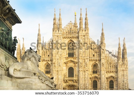 View of Milan Cathedral from the base of the monument to Vittorio Emanuele II - stock photo