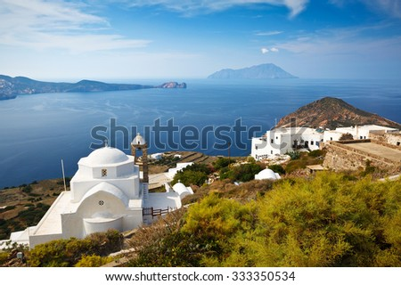 View of Milos bay and Antimilos from Plaka, the capital of Milos island, Greece.
