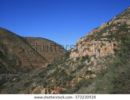 View of Mission Gorge, San Diego, CA - stock photo