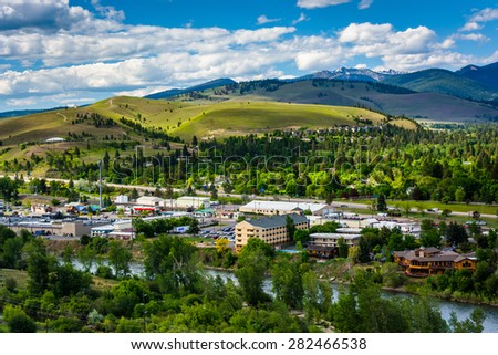 View of Missoula from Mount Sentinel, in Missoula, Montana. - stock photo