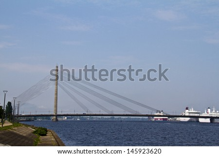 View of modern architecture - cable stayed bridge in Riga, Latvia