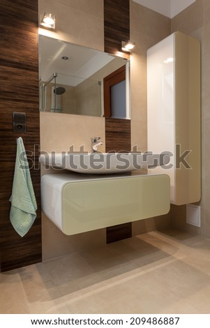 View of modern bathroom with porcelain sink