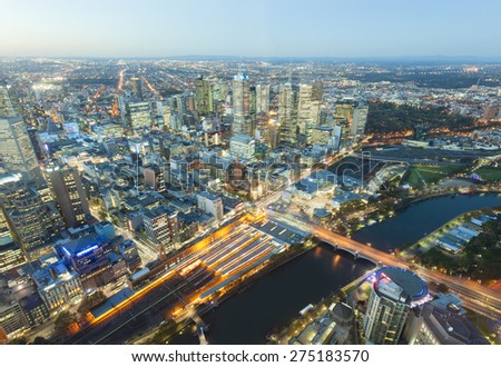 View of modern buildings in Melbourne, Australia at sunset - stock photo