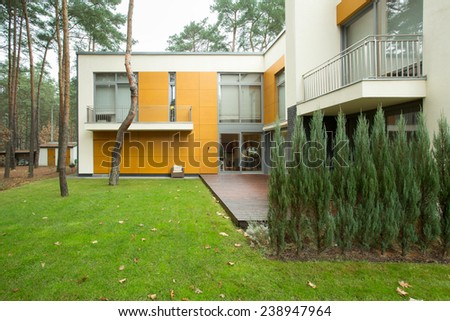 View of modern house from the outside - stock photo