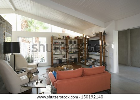 View of modern living room at home - stock photo