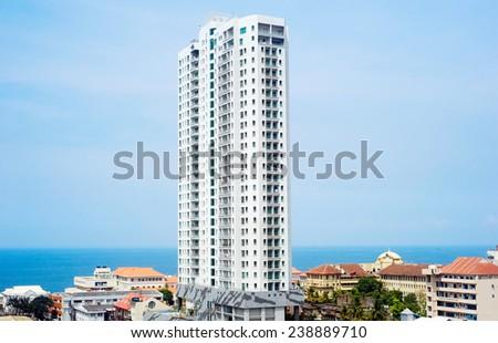 View of modern skyscraper in Colombo, Sri Lanka - stock photo