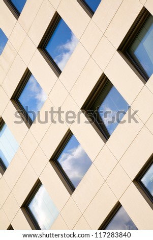 View of modern stone facade in city Luxembourg /  Luxembourg, summer - stock photo